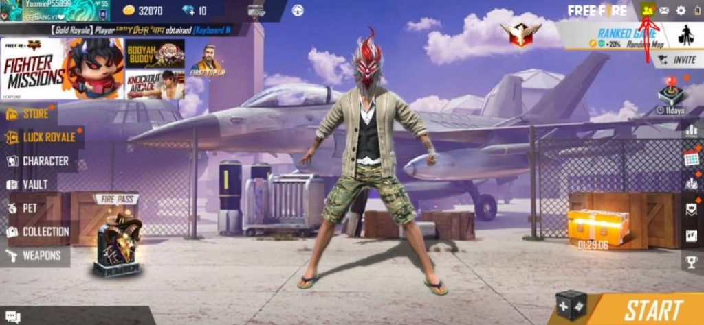How to invite friends in free fire