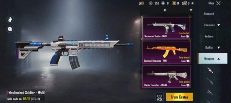 Free gun skin BGMI download